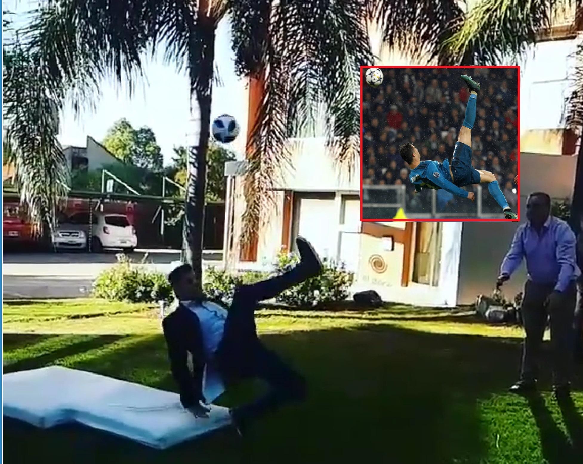 Periodista cordobés terminó enyesado por intentar imitar la chilena de Ronaldo